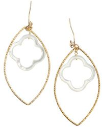 Soixante Neuf - Gold Marquis And Clover Drop Earrings - Lyst