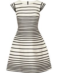 Halston Heritage Striped Cotton and Silkblend Dress - Lyst