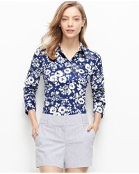 Ann Taylor Petite Chambray Floral Perfect Shirt blue - Lyst