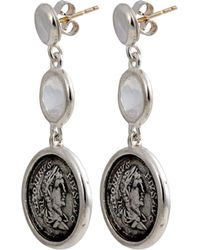 1884 Collection - Legacy Vivace Silver Coin & Moonstone Triple-drop Earrings - Lyst