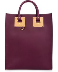 Sophie Hulme Structured Buckle Leather Tote - Lyst