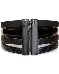 BCBGMAXAZRIA Wide Multi-textured Belt - Lyst