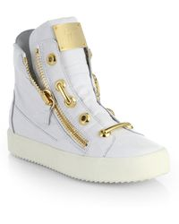 Giuseppe Zanotti Croc-Embossed Leather Hard Lace Detail High-Top Sneakers - Lyst
