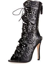 Alice + Olivia Georgia Laser-Cut Leather Boot - Lyst