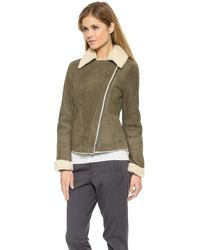 Vince Asymmetrical Shearling Jacket Off Whiteolive - Lyst