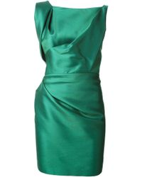 DSquared2 Green Draped Dress - Lyst