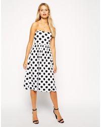 Asos Bandeau Midi Dress in Spot Print - Lyst