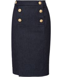 Alexis Mabille | Fitted Denim Button Skirt | Lyst