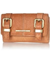 River Island Tan Leather Double Buckle Purse - Lyst