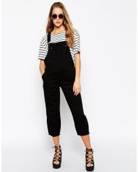 Asos Black Cropped Overalls - Lyst
