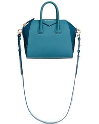 Givenchy 'Antigona' Mini Patent Leather Combo Bag teal - Lyst