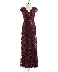 Tadashi Shoji Sequined V-Neck Gown - Lyst