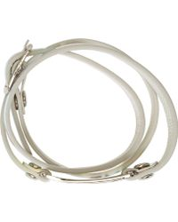 McQ by Alexander McQueen Silver Holographic Leather Razor Wrap Bracelet - Lyst