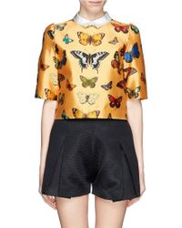 Chictopia - Cropped Butterfly Print Shirt - Lyst