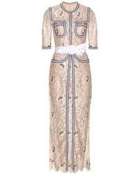 Alessandra Rich Floor-Length Lace Dress beige - Lyst