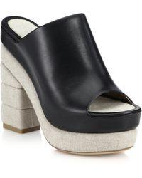 Ferragamo Maddox Linen-Heeled Leather Mule Sandals black - Lyst
