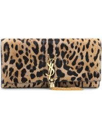 Saint Laurent Classic Monogramme Pony Hair Clutch - Lyst