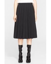 Marc Jacobs Pleated Wool Gabardine Skirt black - Lyst
