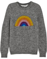 Lulu & Co Rainbow Metallic Intarsia Knitted Sweater - Lyst