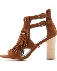 DANNIJO - Quin Fringe Suede Sandals - Brown - Lyst