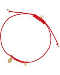 Shy By Sydney Evan - Hamsa Bezel Diamond Cord Bracelet - Lyst