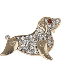 Topshop Freedom Found Rhinestone Dog Brooch - Lyst