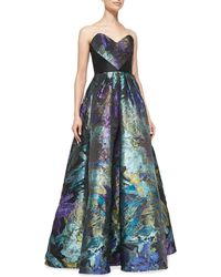 Theia Strapless Floral Ball Gown - Lyst