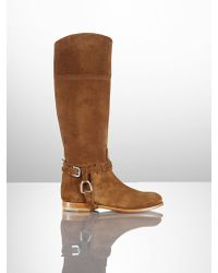 Ralph Lauren Collection Calf-suede Sage Riding Boot - Lyst