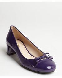 Prada Purple Patent Leather Cap Toe Heel Pumps - Lyst
