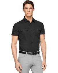 Calvin Klein Black Stretch-Cotton Sportshirt - Lyst