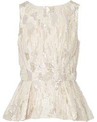 Elie Saab Jasmine Embellished Tulle Peplum Top - Lyst