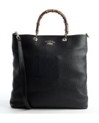 Gucci Black Leather Bamboo Shopper Tote - Lyst