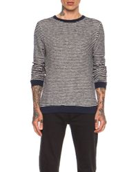 Band Of Outsiders Loop Stripe Cotton Blend Sweatshirt - Lyst
