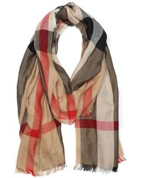 Burberry Camel Half Mega Check Cashmere and Silk Blend Scarf - Lyst