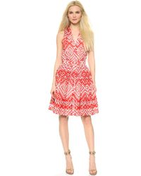 Temperley London Ripple Print Sleeveless Dress - Red Mix - Lyst