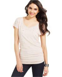DKNY Short-Sleeve Sequin Tee-Shirt - Lyst