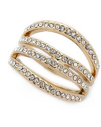 Rebecca Minkoff | Safari Haze Four Band Ring - Gold/crystal | Lyst