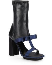 Prada Satin  Leather T-strap Ankle Boots - Lyst