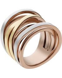 Michael Kors Tri Tone Interwoven Ring - Lyst