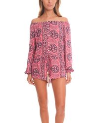 Loveshackfancy Playsuit With Tassels pink - Lyst