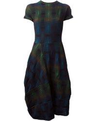 M Missoni Asymmetric Draped Hem Checked Dress - Lyst