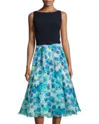 Theia Jersey & Chiffon Combo Dress - Lyst