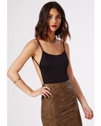 Missguided Purdy Backless Crepe Bodysuit Black - Lyst