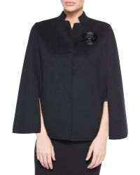 Fendi Snap-Front Cape With Orchid Mink Brooch - Lyst