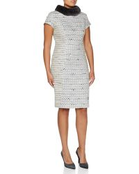Carolina Herrera Mink-Collar Tweed Dress  - Lyst