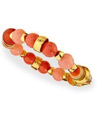 Jose & Maria Barrera Gold-Plated Beaded Shell Bracelet - Lyst