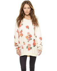 Wildfox Rose Collage Sweatshirt - Vintage Lace - Lyst