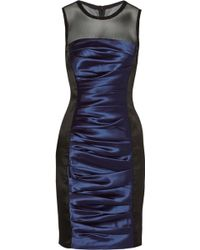 Vera Wang Ruched Satintwill Dress - Lyst