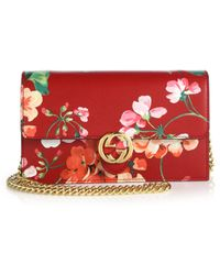 Gucci   Shanghai Blooms Leather Chain Wallet   Lyst