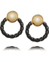 Giles & Brother Gold And Gunmetal-Plated Earrings - Lyst